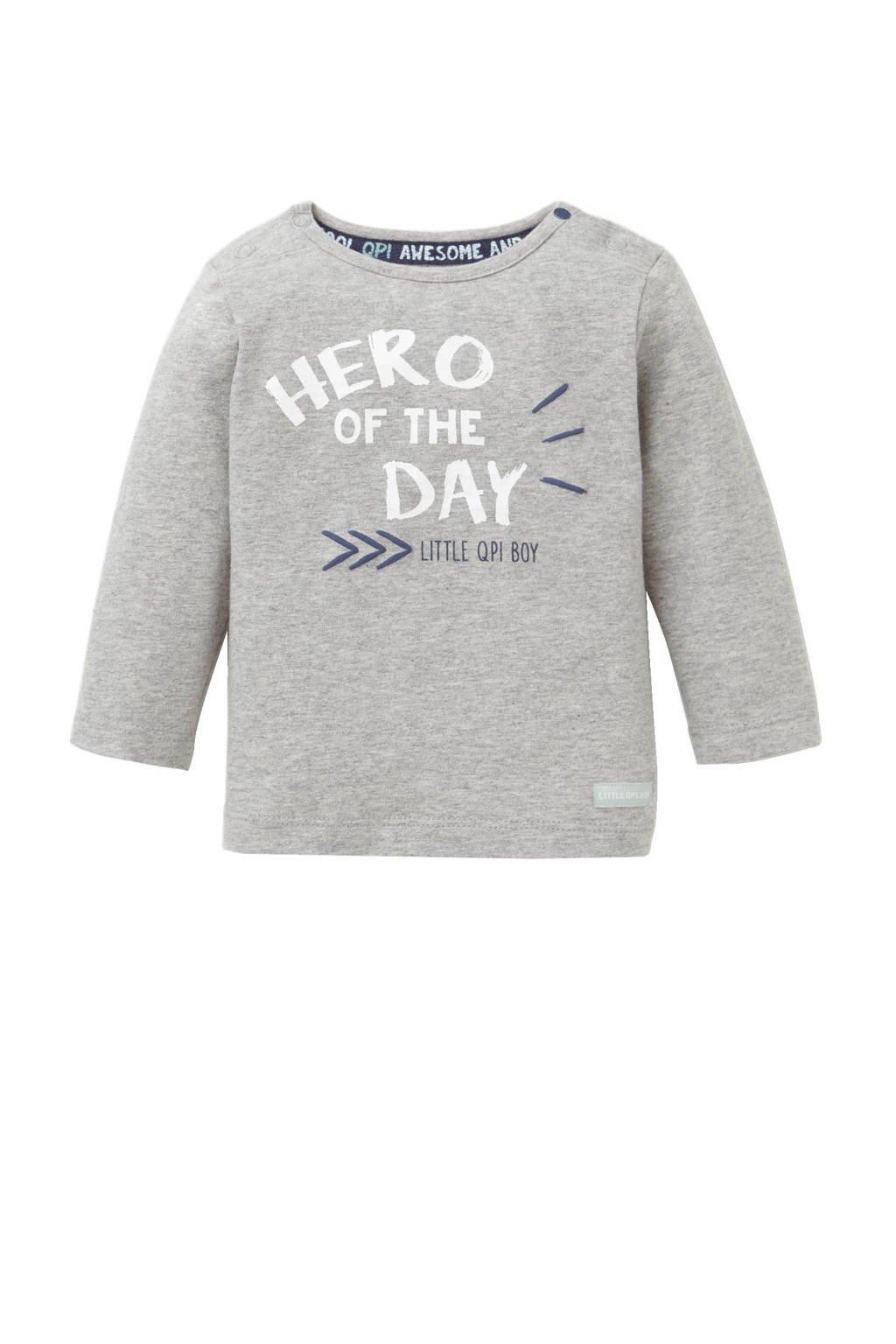 Quapi newborn T-shirt, Grijs melange/wit