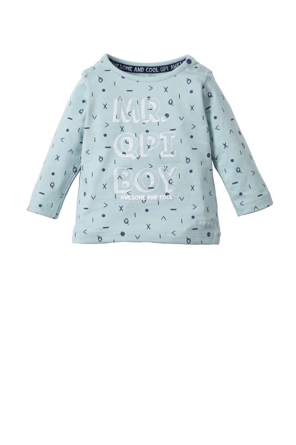 Quapi newborn T-shirt, Mintgroen/donkerblauw