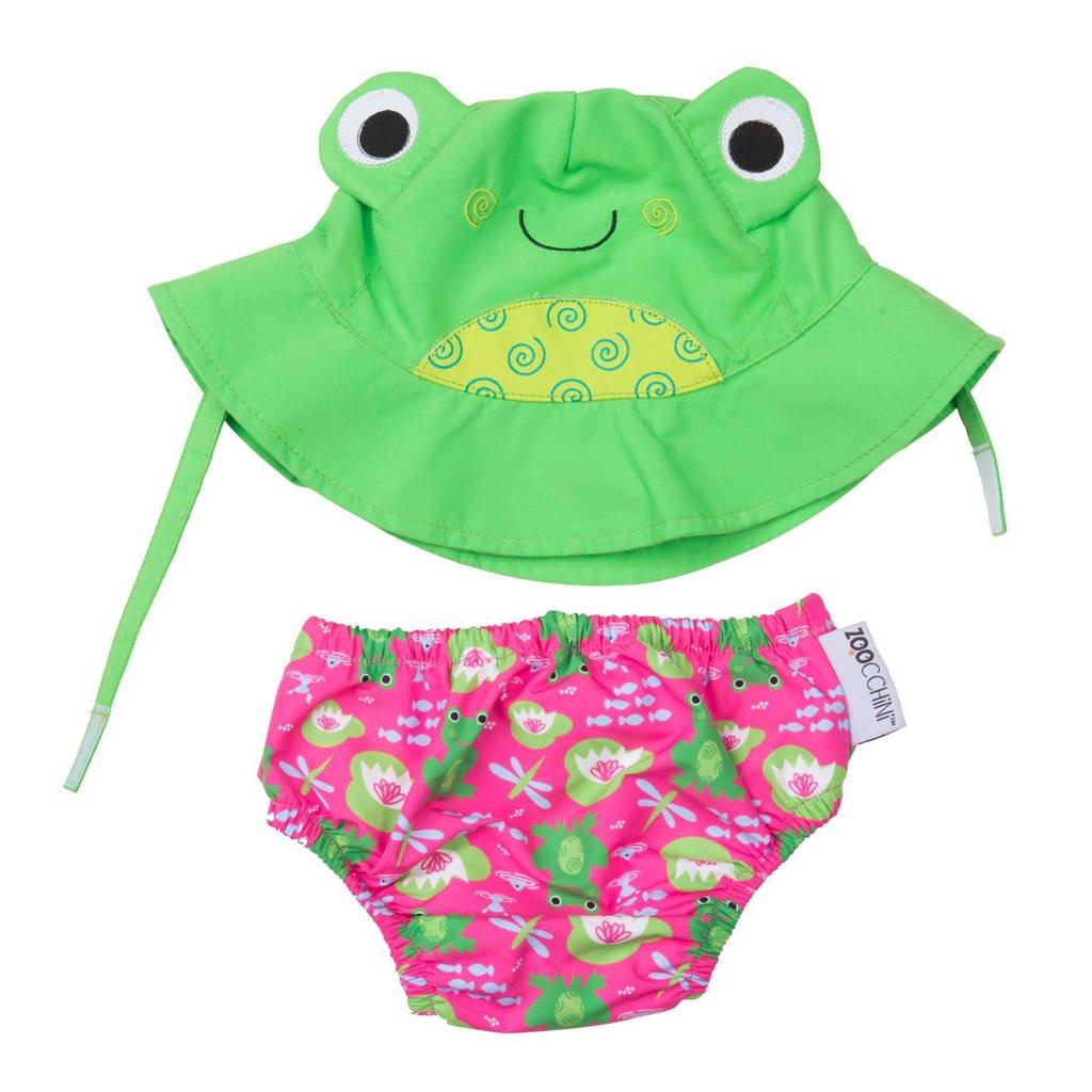 Zoocchini Flippy the frog zwemluier + zonnehoedje maat M, M: 6-12 maanden, Roze, groen