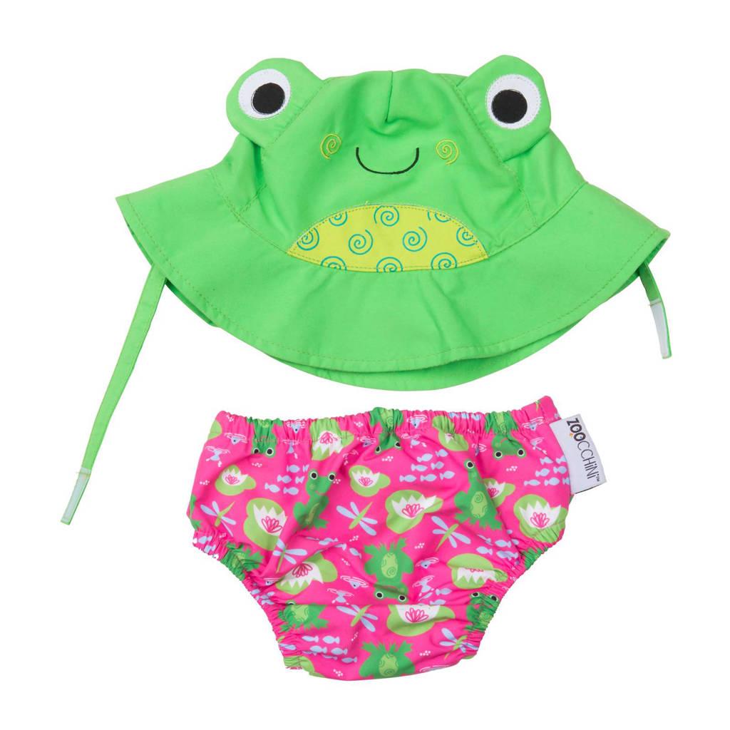 Zoocchini Flippy the frog zwemluier + zonnehoedje maat S, S: 3-6 maanden, Roze, groen