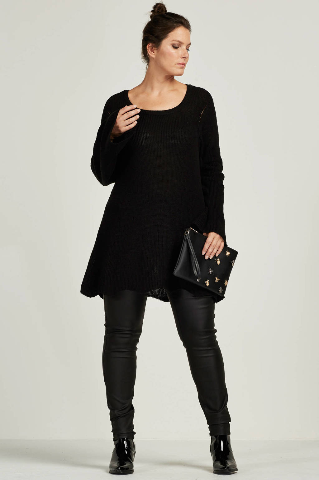 JUNAROSE coated skinny broek, Zwart