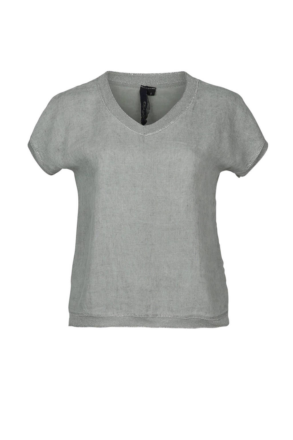 Paprika T-shirt met linnen, Licht kaki