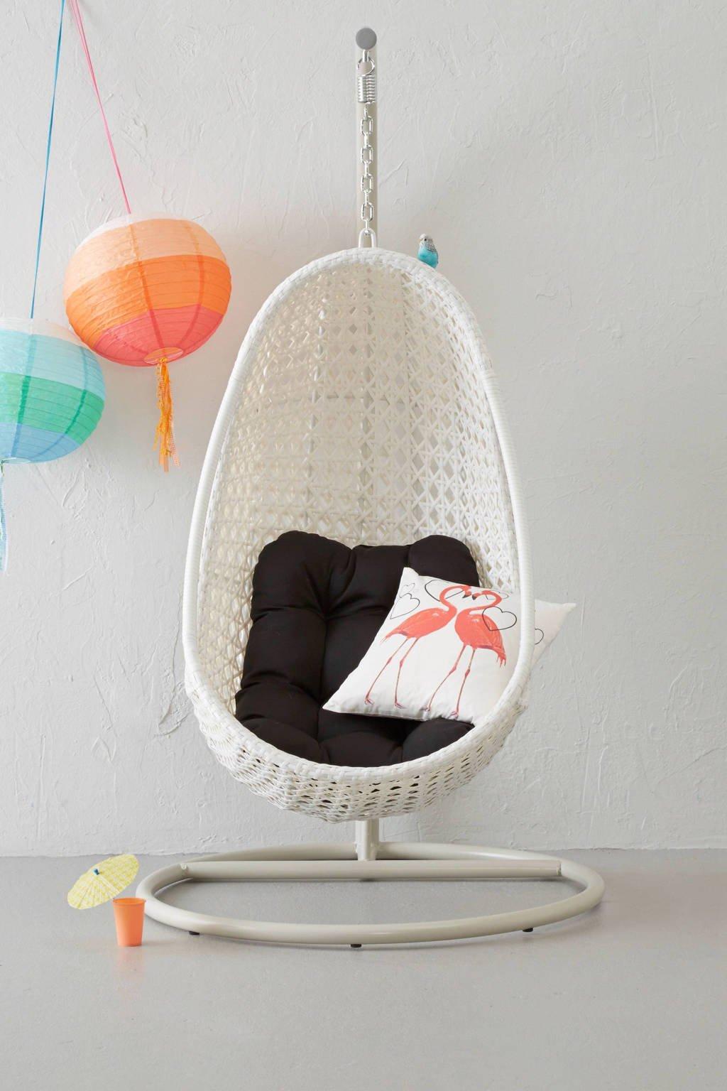 SenS-Line hangstoel Funny Relax, Wit met een zwart kussen