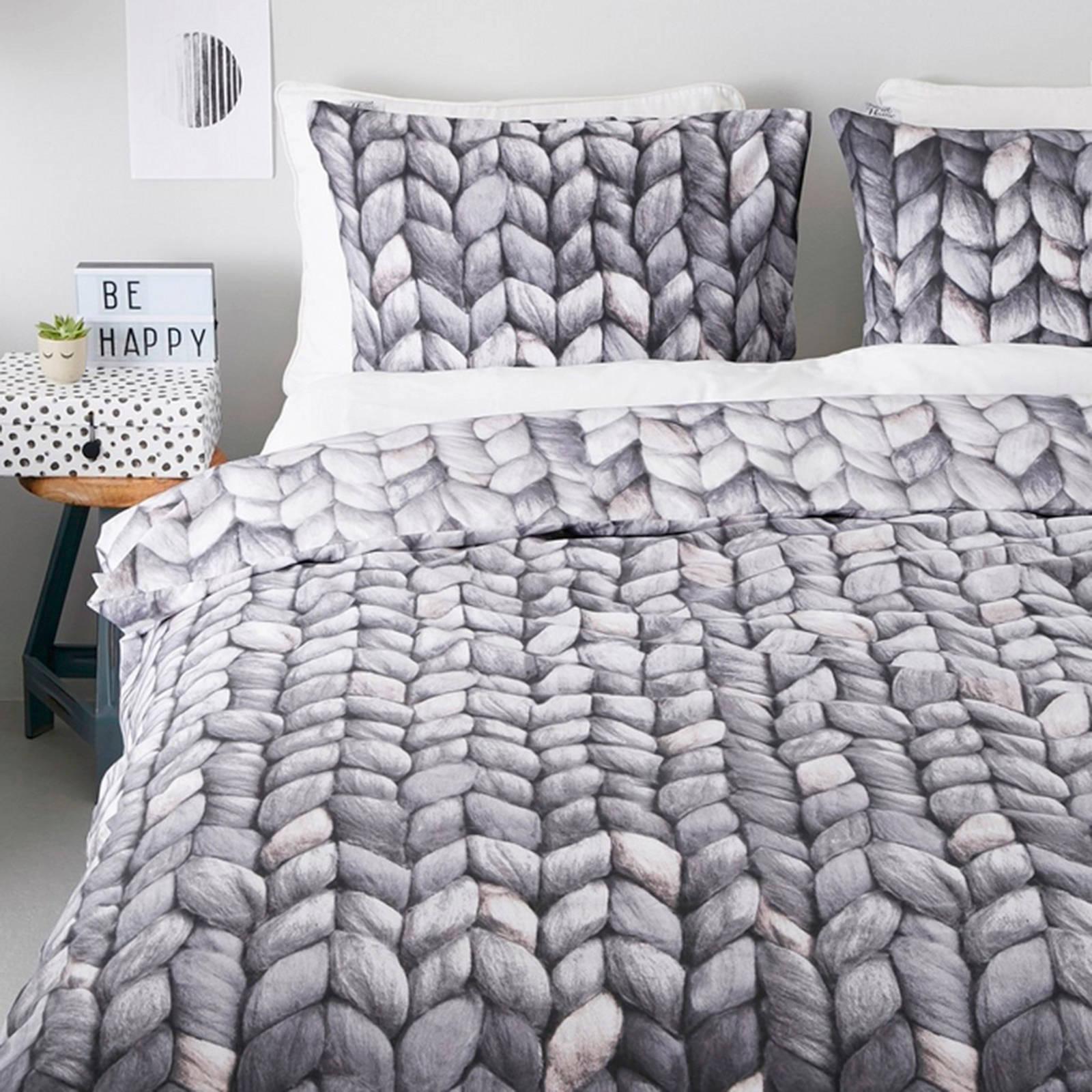 ariadne at home katoenen dekbedovertrek lits jumeaux grijs