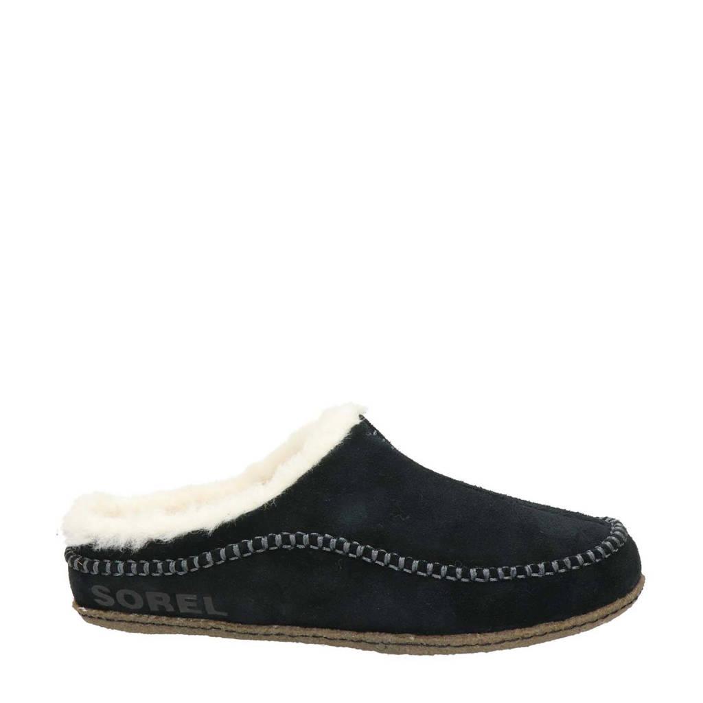 Sorel suède pantoffels, Zwart