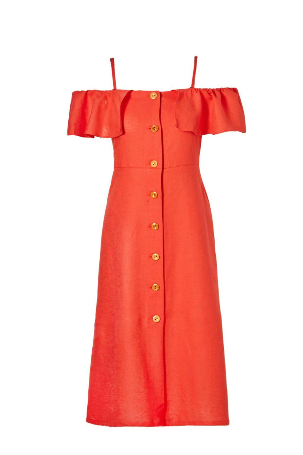 Mango off shoulder jurk met linnen, Koraalrood