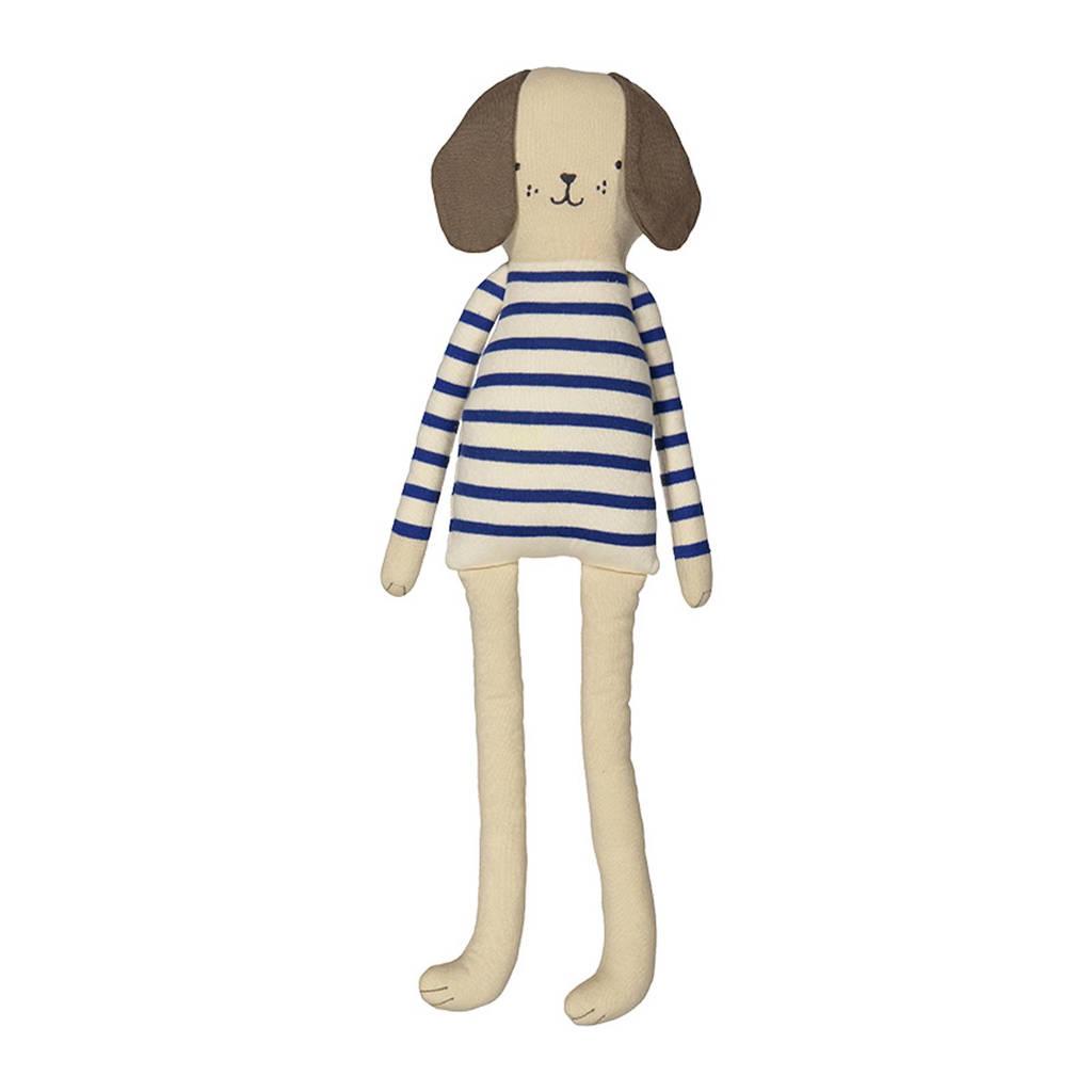 Meri Meri Hond knuffel 61 cm, Wit/blauw