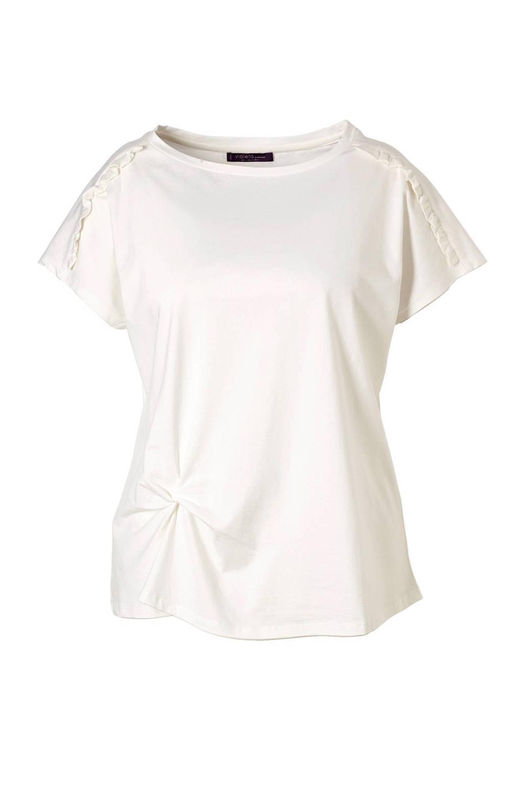 Violeta by Mango t-shirt, Gebroken wit