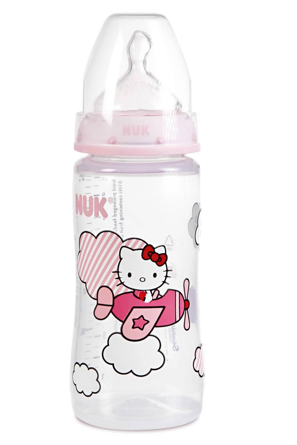 NUK Hello Kitty voedingsfles 300 ml, Roze, wit