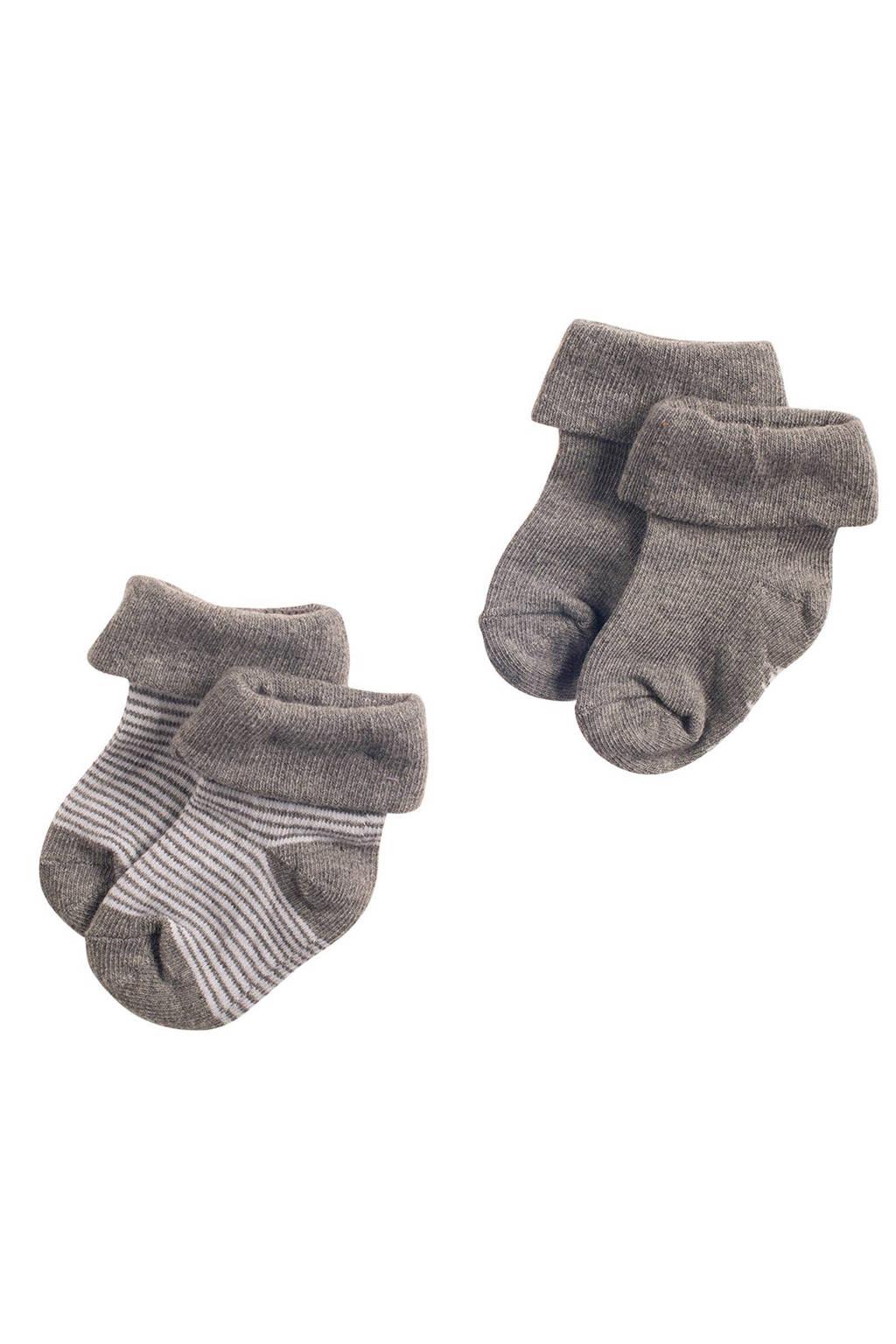 Noppies newborn baby sokken (2 paar), Grijs melange