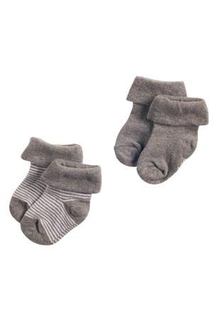 newborn baby sokken - set van 2 grijs
