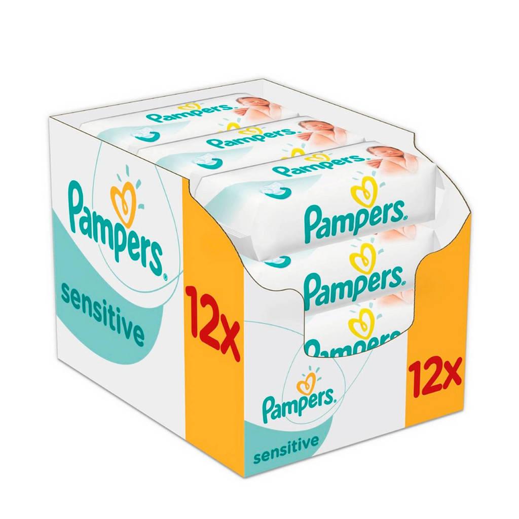 Pampers Sensitive 12 x 56 babydoekjes, 12 x 56 stuks