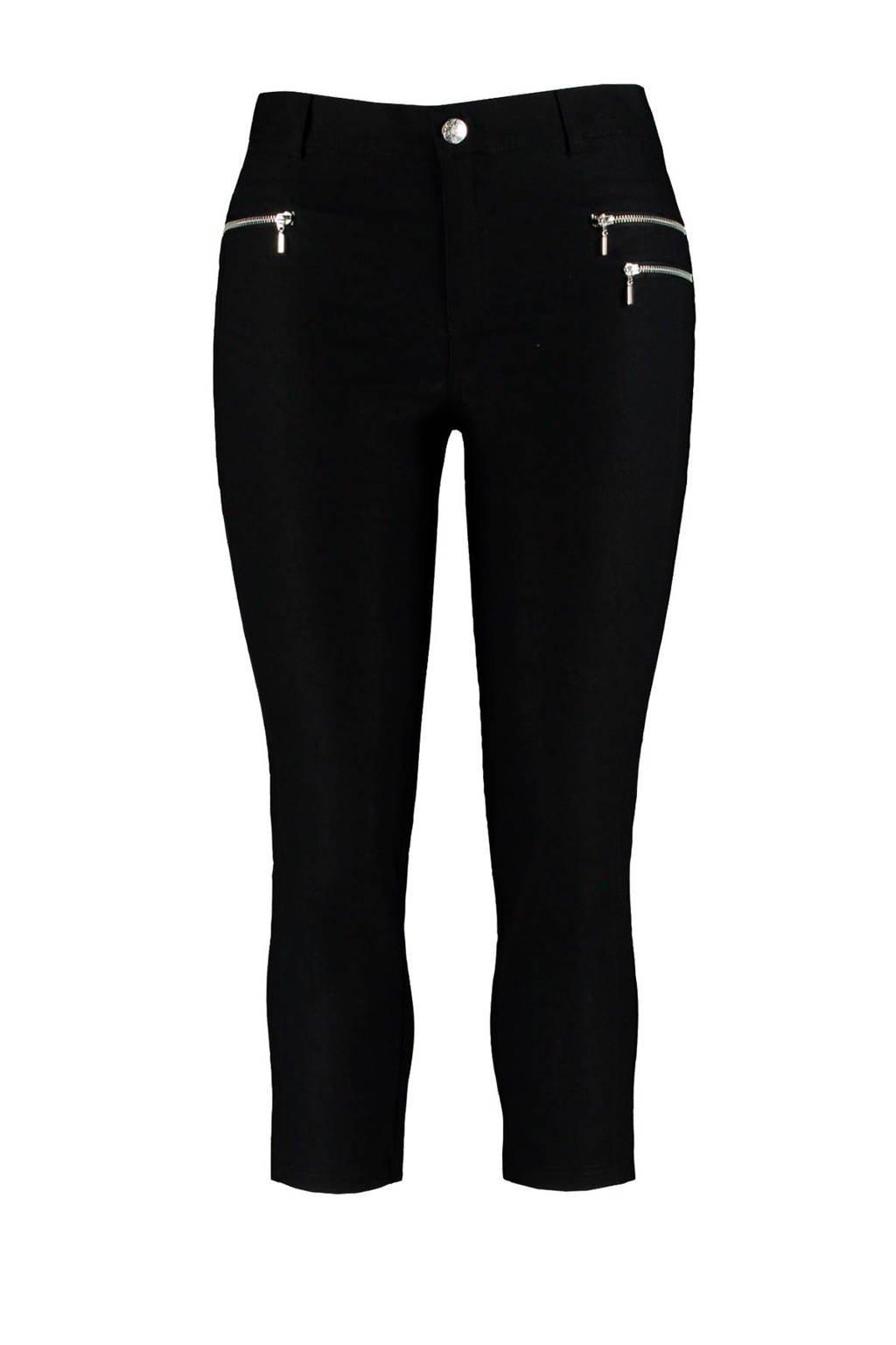 MS Mode slim fit capri met hoge taille zwart, Zwart