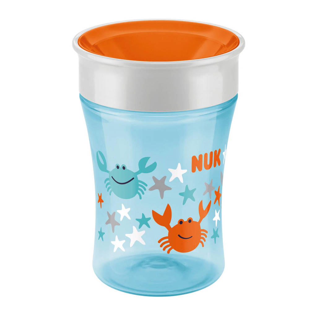 NUK Magic Cup drinkbeker 250 ml lichtblauw/oranje, Lichtblauw