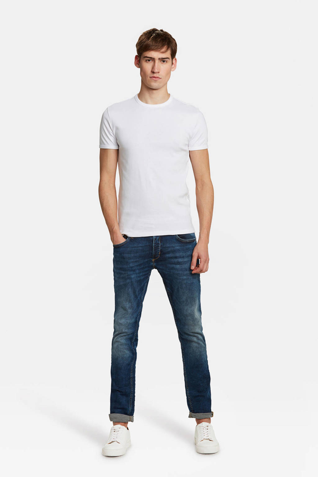 WE Fashion slim t-shirt wit, White Uni