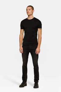 WE Fashion slim fit T-shirt black, Black Uni