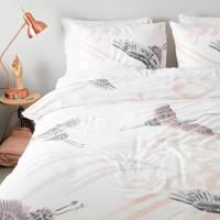 whkmp's own katoensatijnen dekbedovertrek lits jumeaux, Wit/roze/grijs