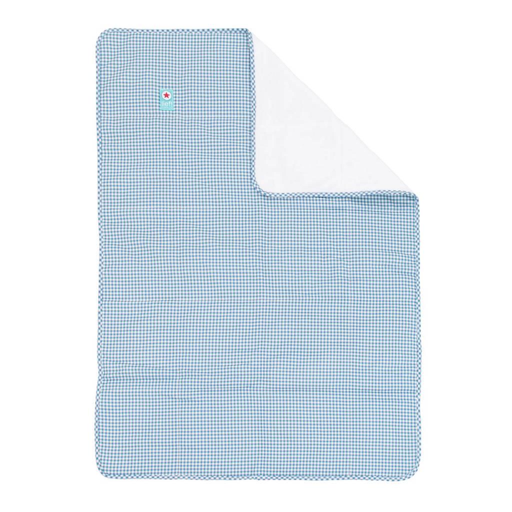 lief! plaid 75x100 cm blauw, Blauw/wit