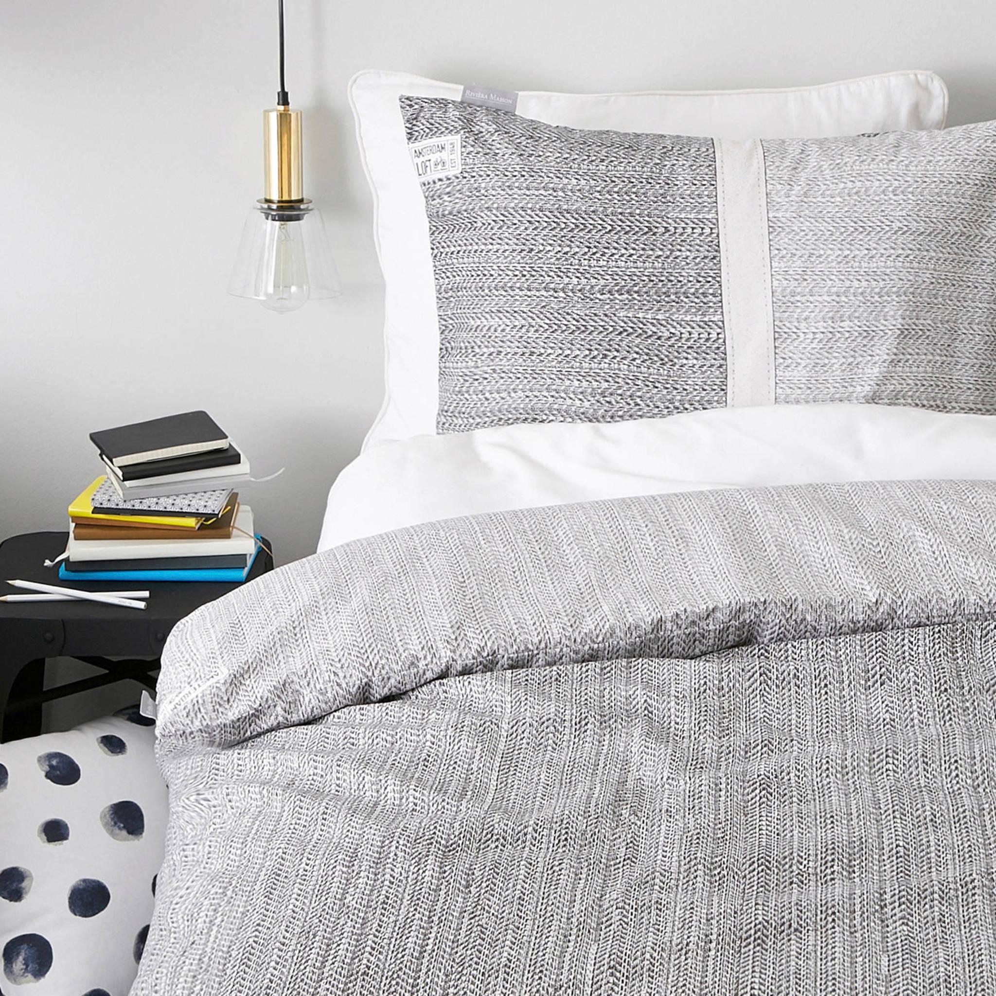 riviera maison katoenen dekbedovertrek lits jumeaux grijs