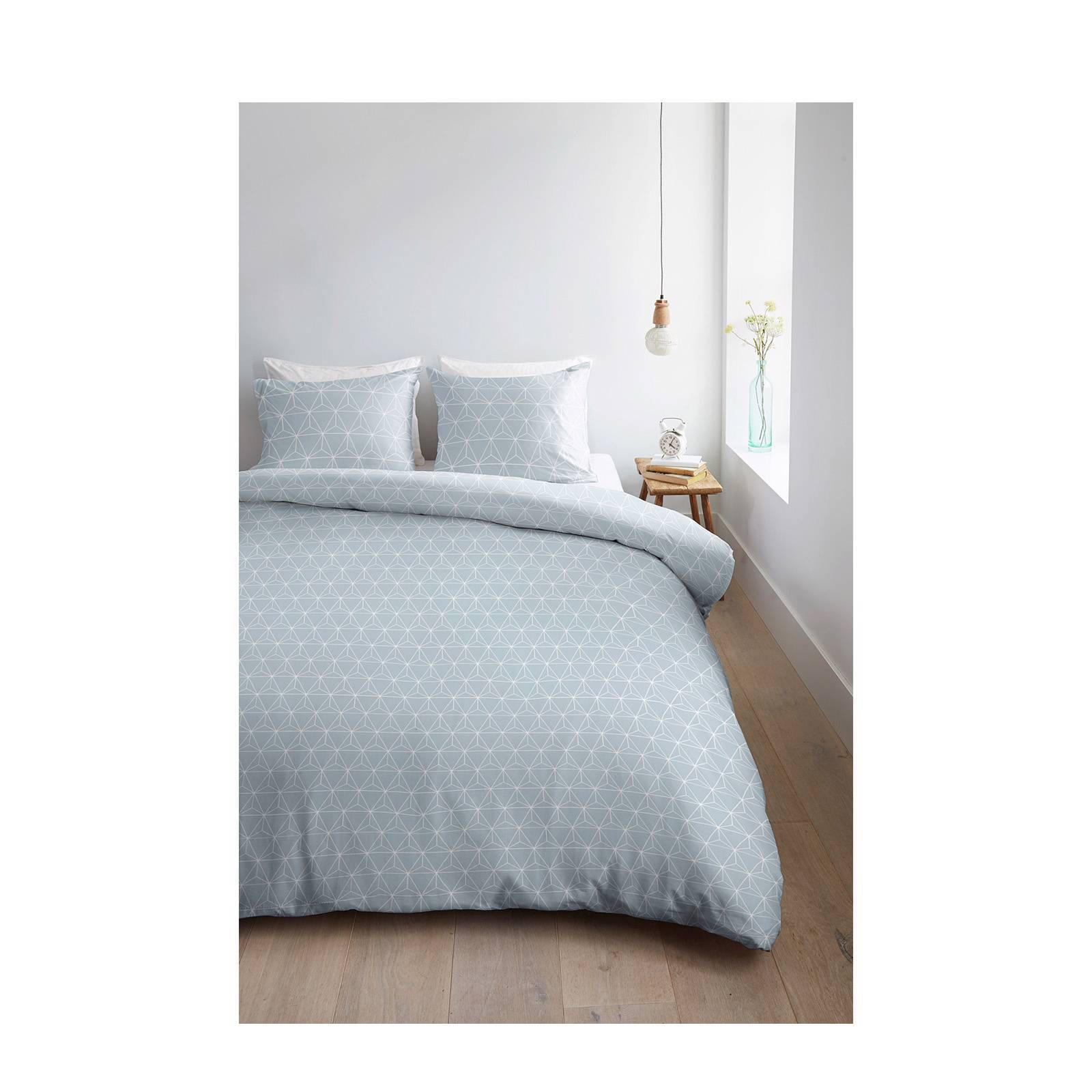 ambiante katoenen dekbedovertrek lits jumeaux lichtblauw