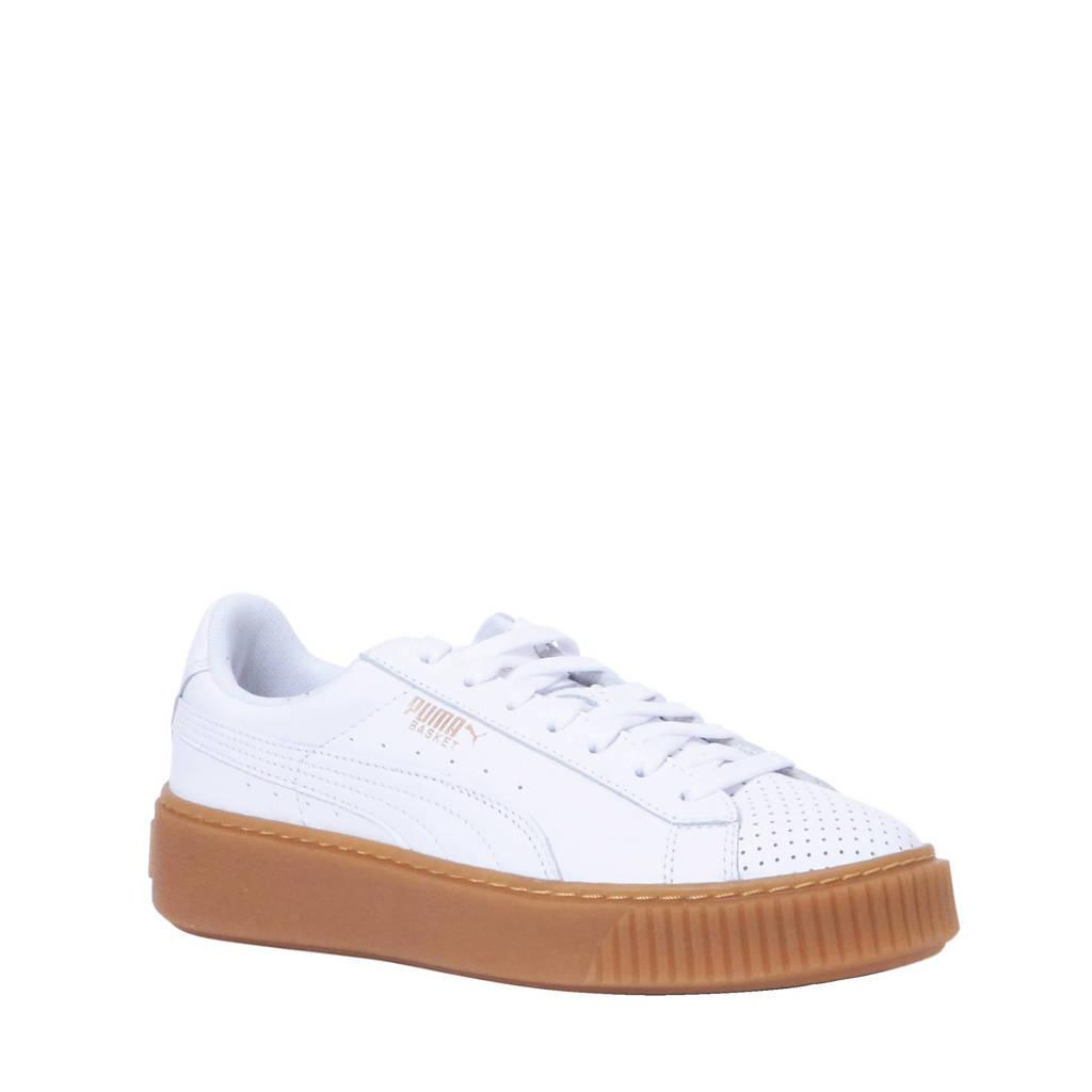 9cf4a2fc404 Puma Basket Platform Perf L sneakers, Wit/bruin