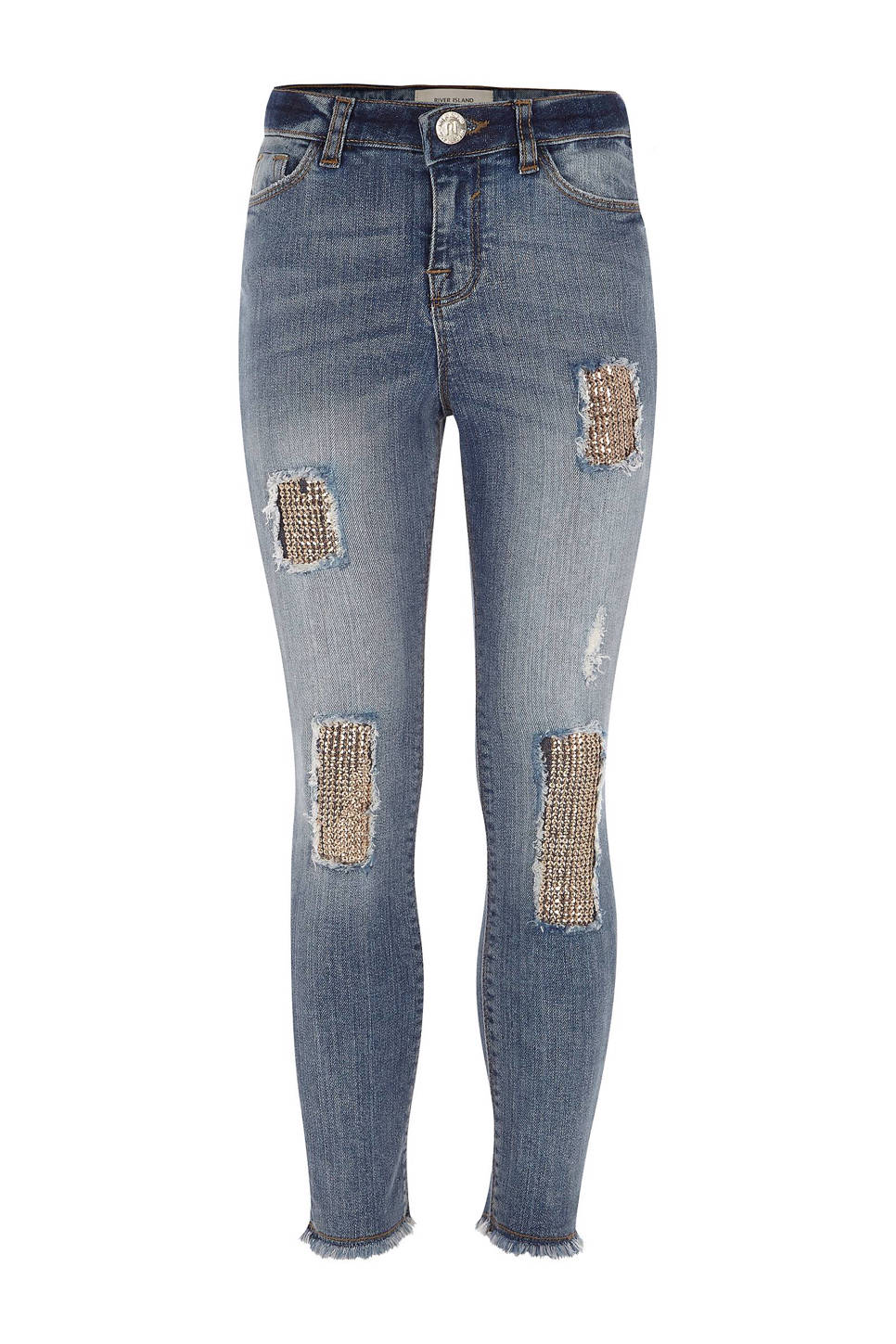River Island skinny jeans Amelie met pailletten, Stonewashed