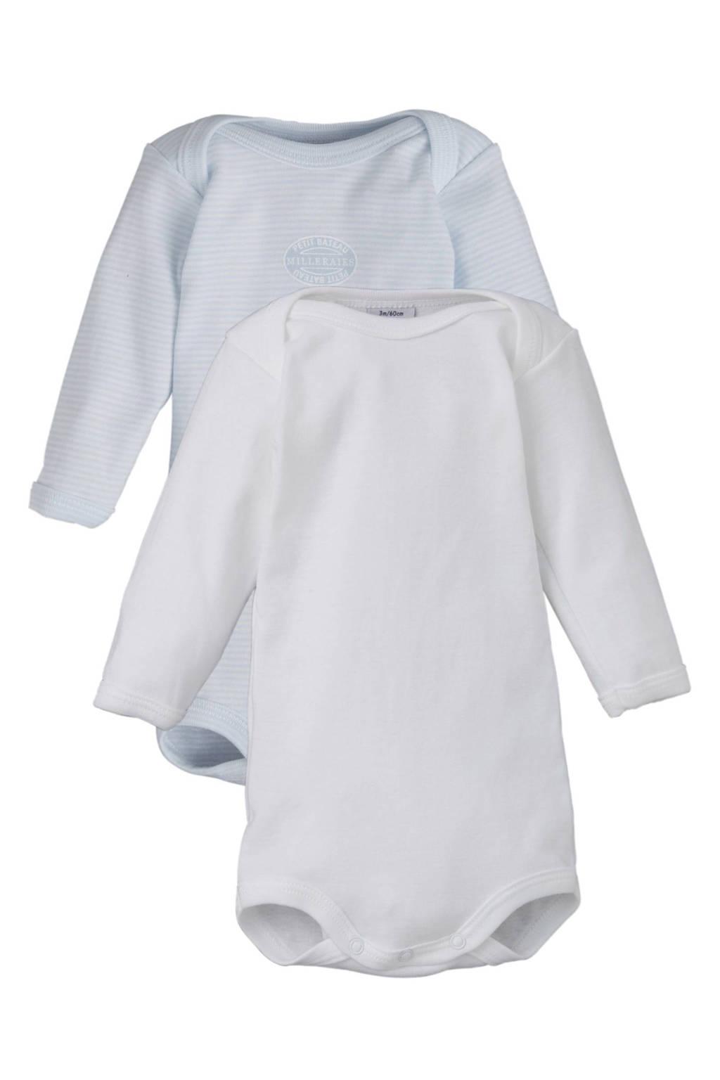 Petit Bateau newborn baby romper, Blauw / Wit
