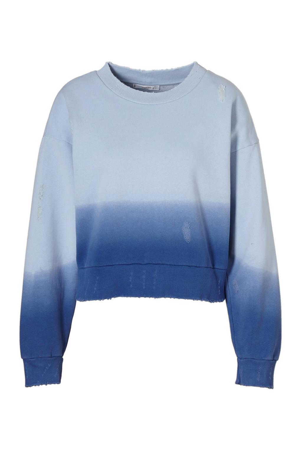 Mango sweater met tie-dye print, Blauw