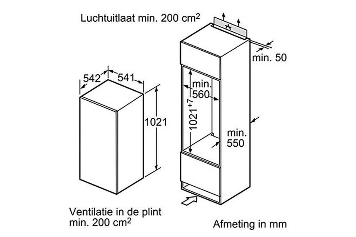 inbouw koelkast afmetingen