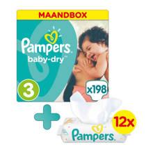 Baby-Dry maandbox maat 3 (6-10 kg) 198 luiers + Sensitive babydoekjes