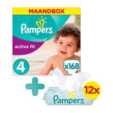 Active Fit maandbox maat 4 (8-16 kg) 168 luiers + Fresh Clean babydoekjes