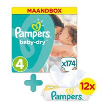 Baby-Dry maandbox maat 4 (9-14 kg) 174 luiers + Sensitive babydoekjes