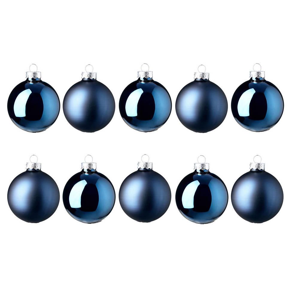 Decoris Glazen kerstballen (Ø 6cm) (set van 10), Donkerblauw