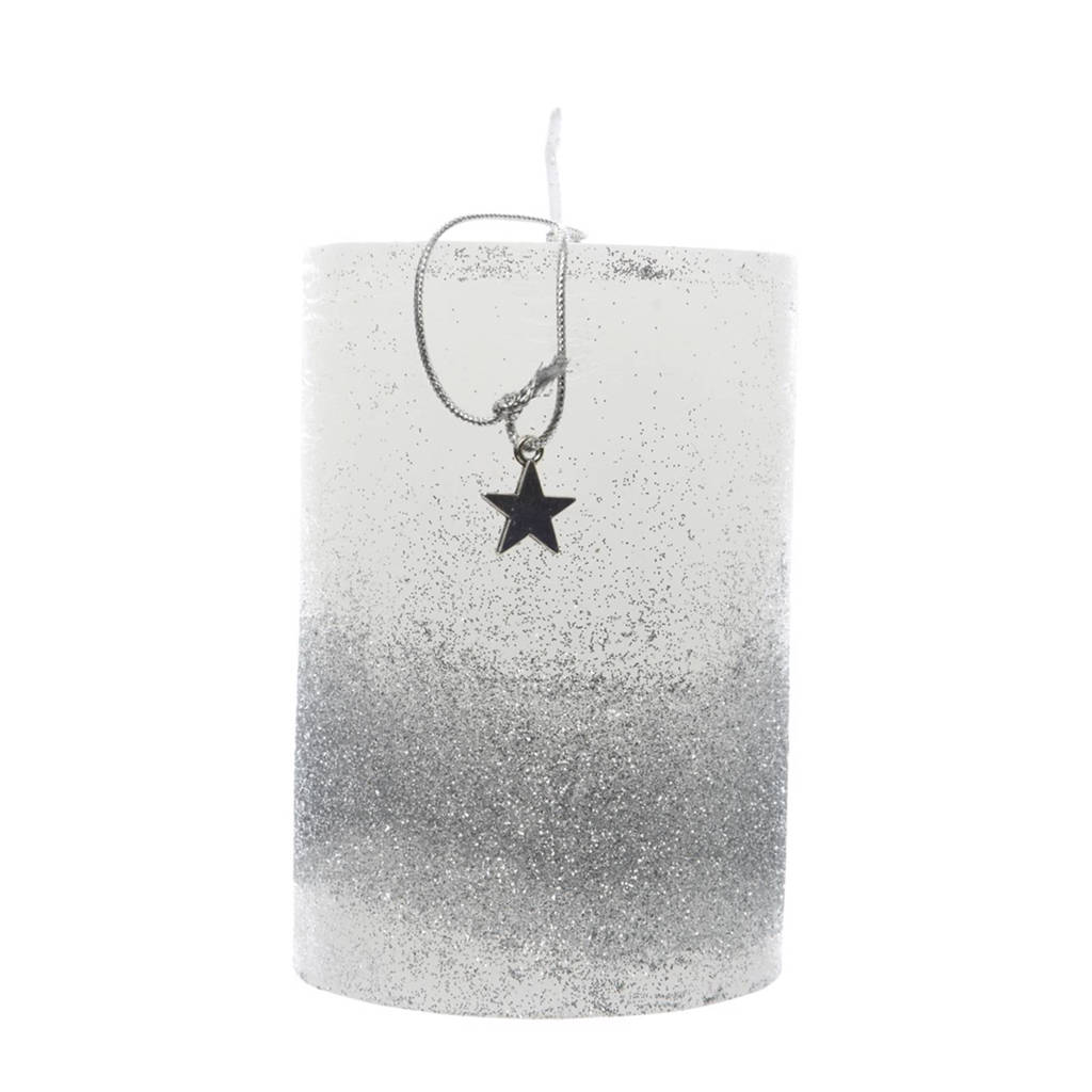 Decoris kaars glitters (13 cm),  Ø7x13 cm, Zilver/wit