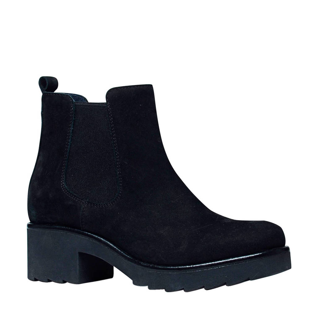 Manfield nubuck chealsea boots, Zwart