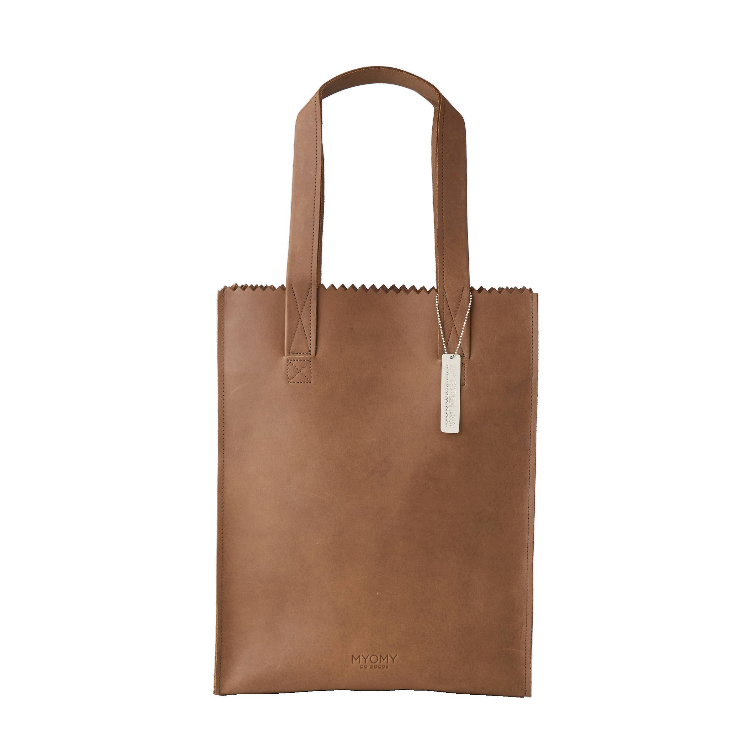 myomy my paper bag long handle zip leren tas bruin