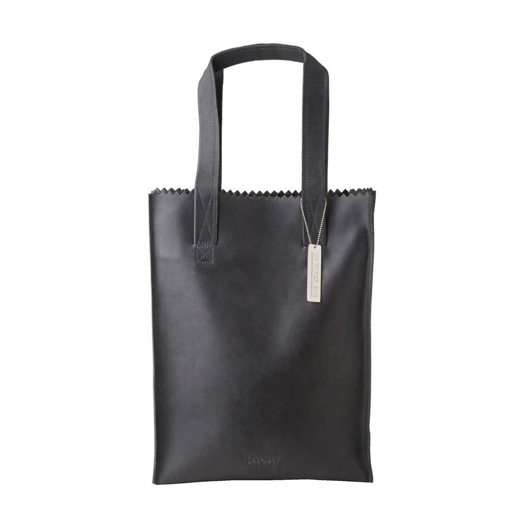 MYOMY   MY PAPER BAG Long handle zip leren tas, Zwart
