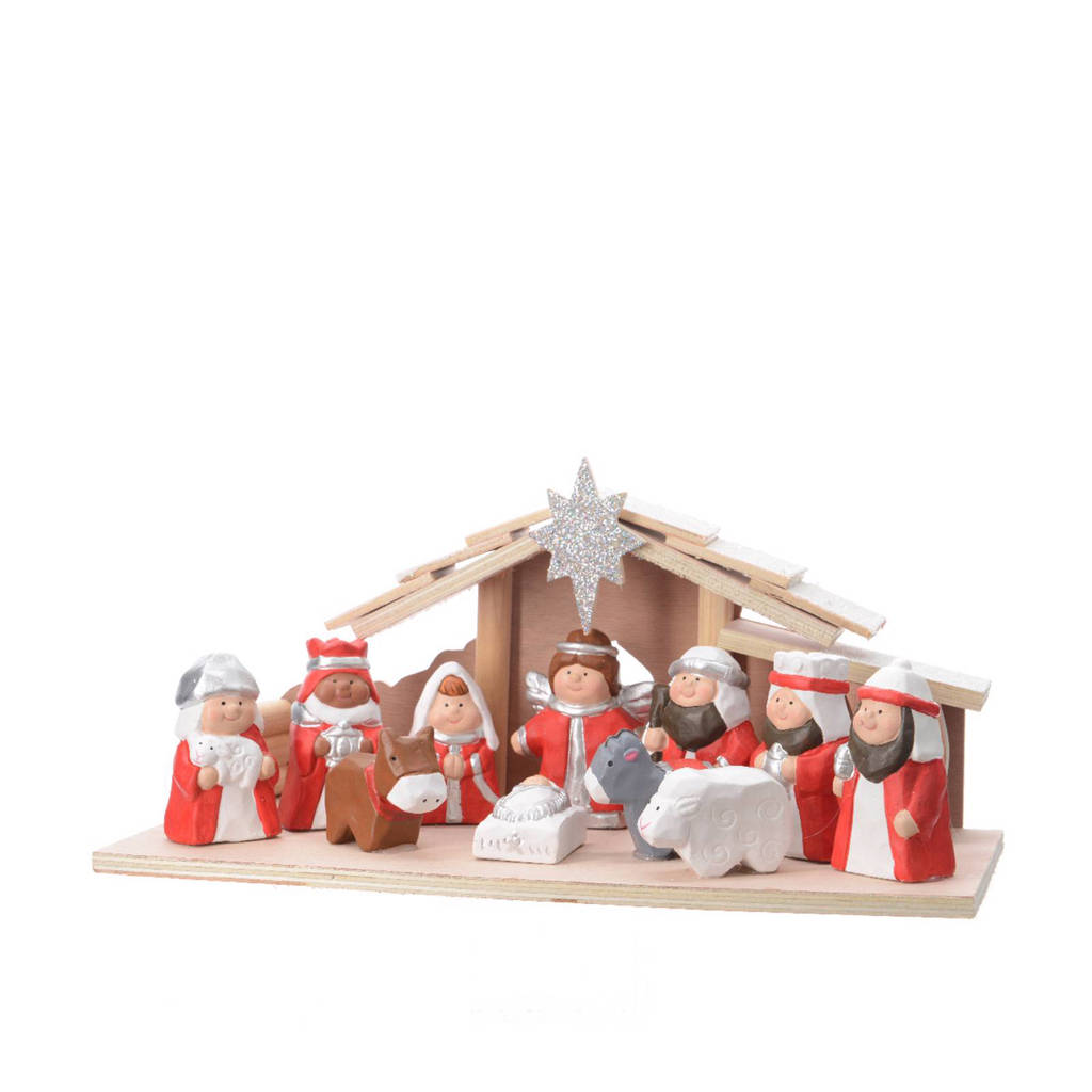 Decoris kerststal (11-delig), Rood/naturel