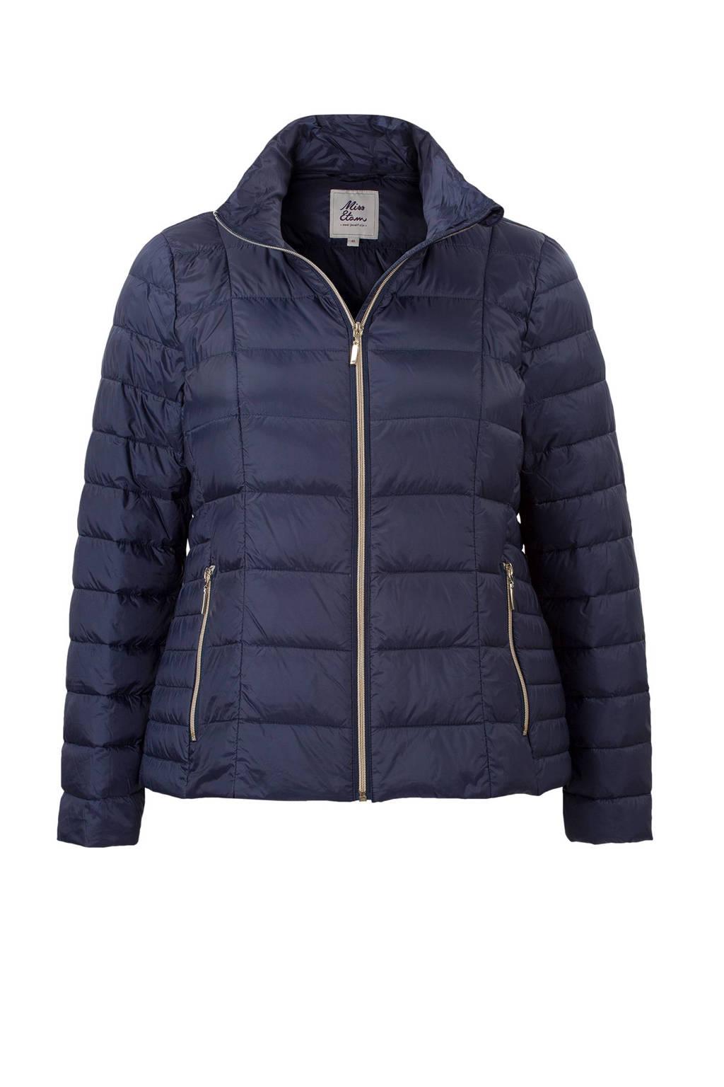 Miss Etam Plus gewatteerde jas, Marineblauw