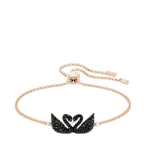 Swarovski Iconic Swan Double Bracelet, Black, Rose gold plating Black Rose gold-plated