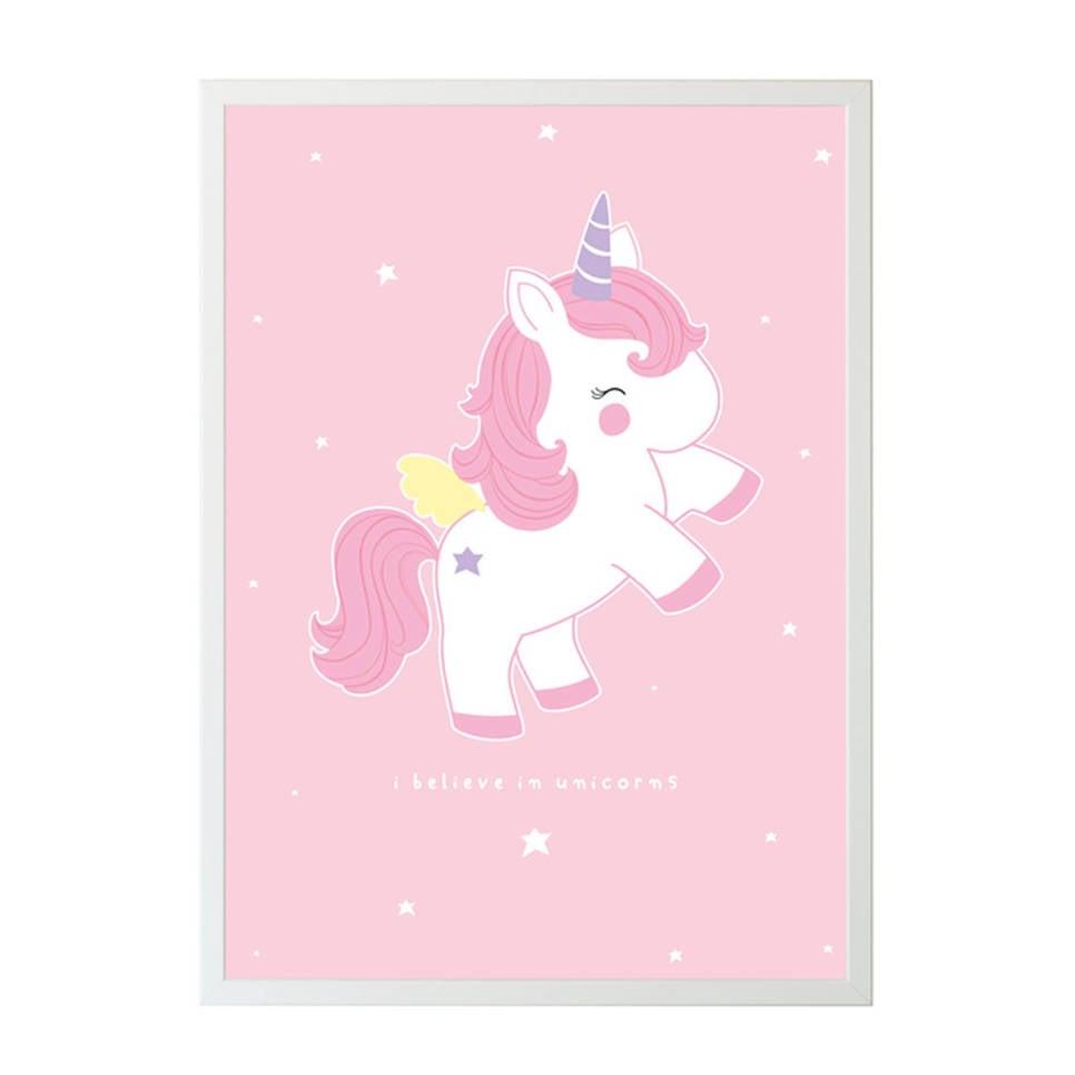 A Little Lovely Company Poster Eenhoorn (70x50cm) , Roze