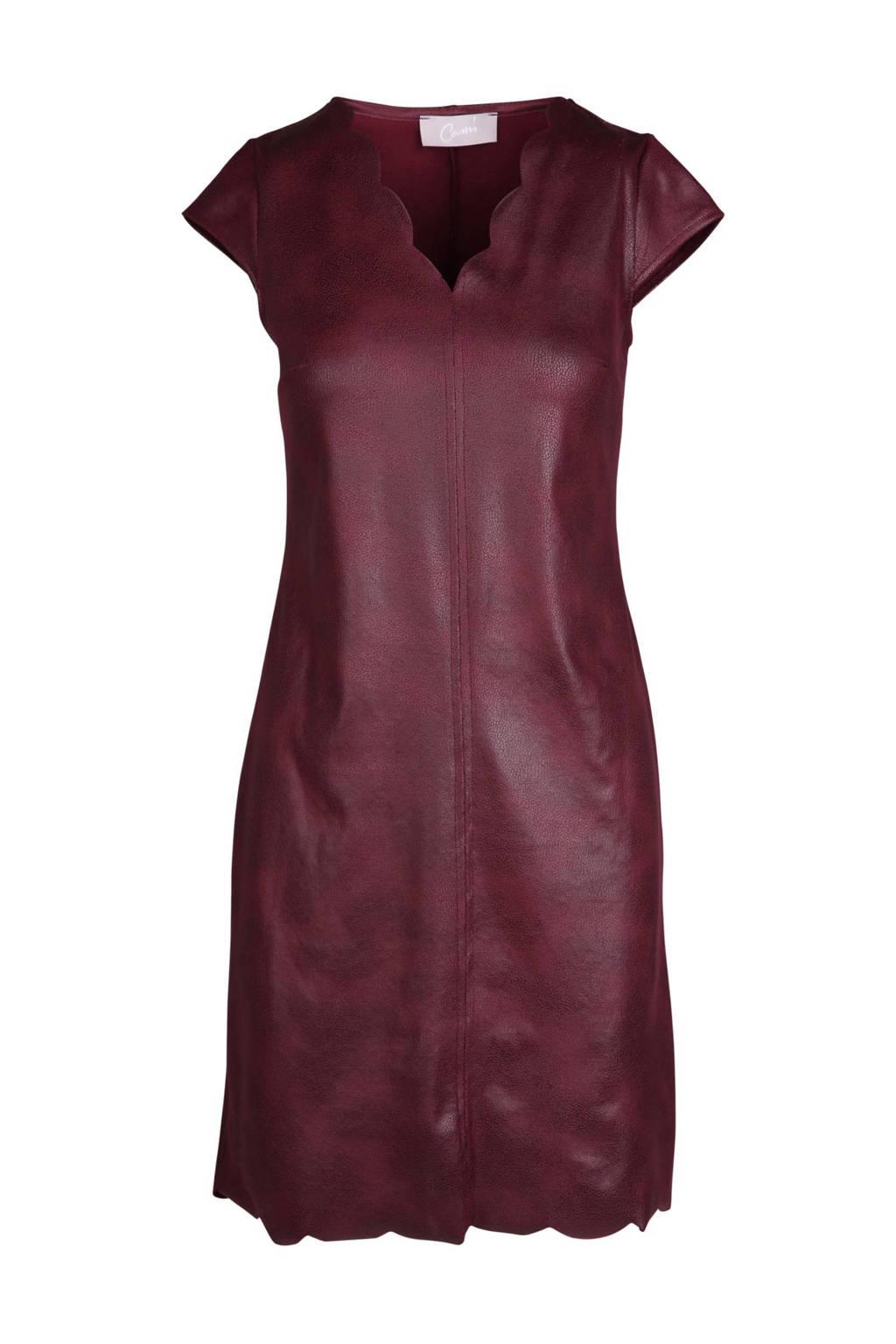 Cassis suèdine jurk, Wijnrood