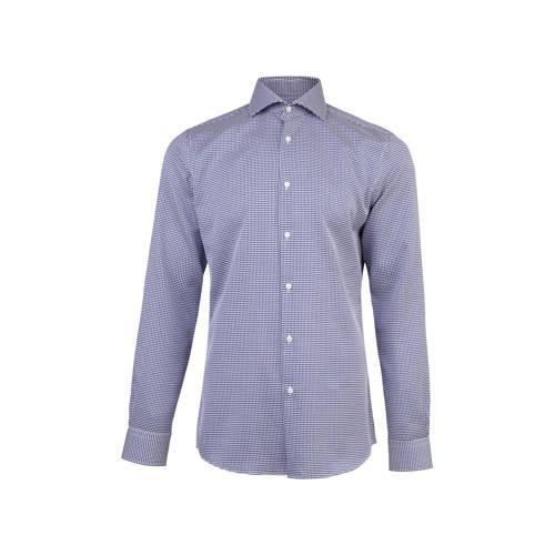 slim fit overhemd met all-over print blauw