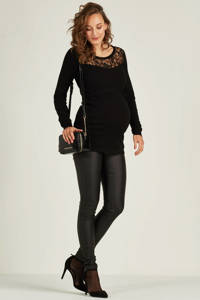 MAMALICIOUS positie coated broek, Zwart