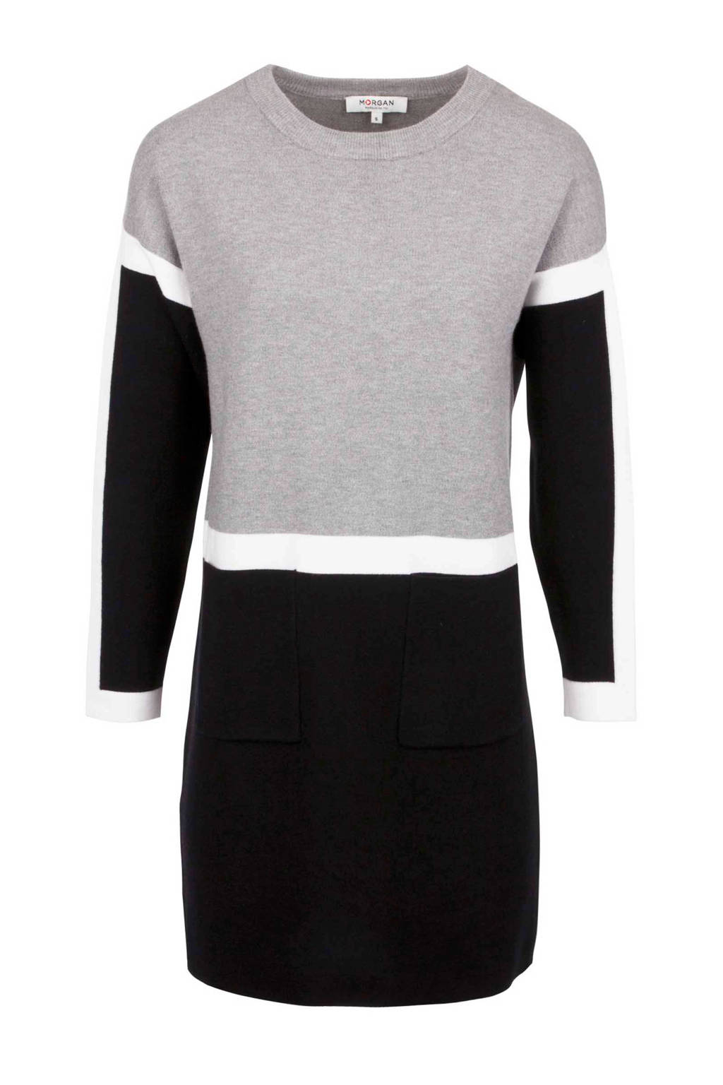 Morgan jurk, Grijs/zwart/wit