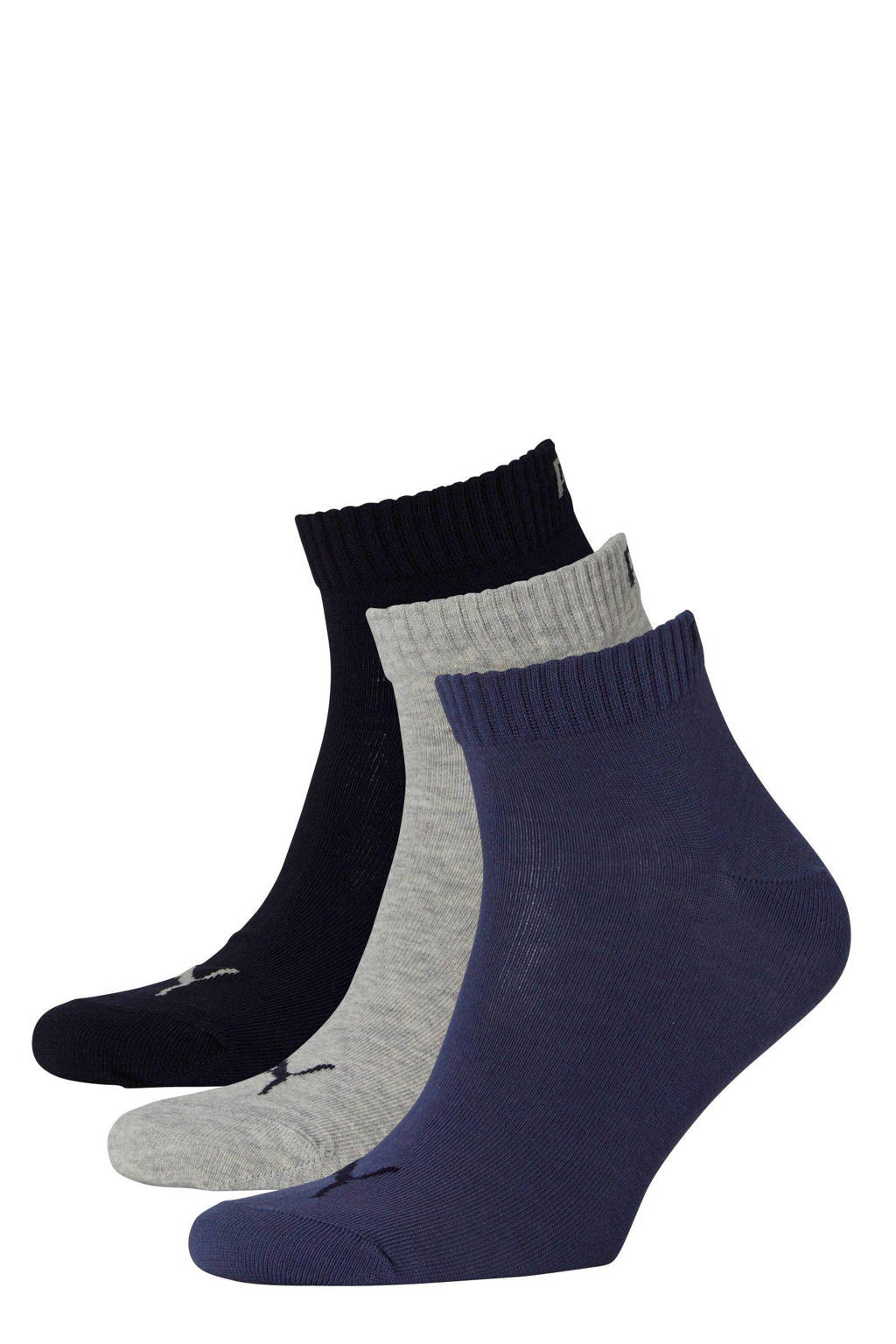 Puma sportsokken - set van 3 multi, marine/grijs/blauw