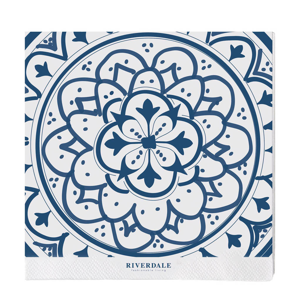 Riverdale papieren servetten (set van 20), Wit/blauw