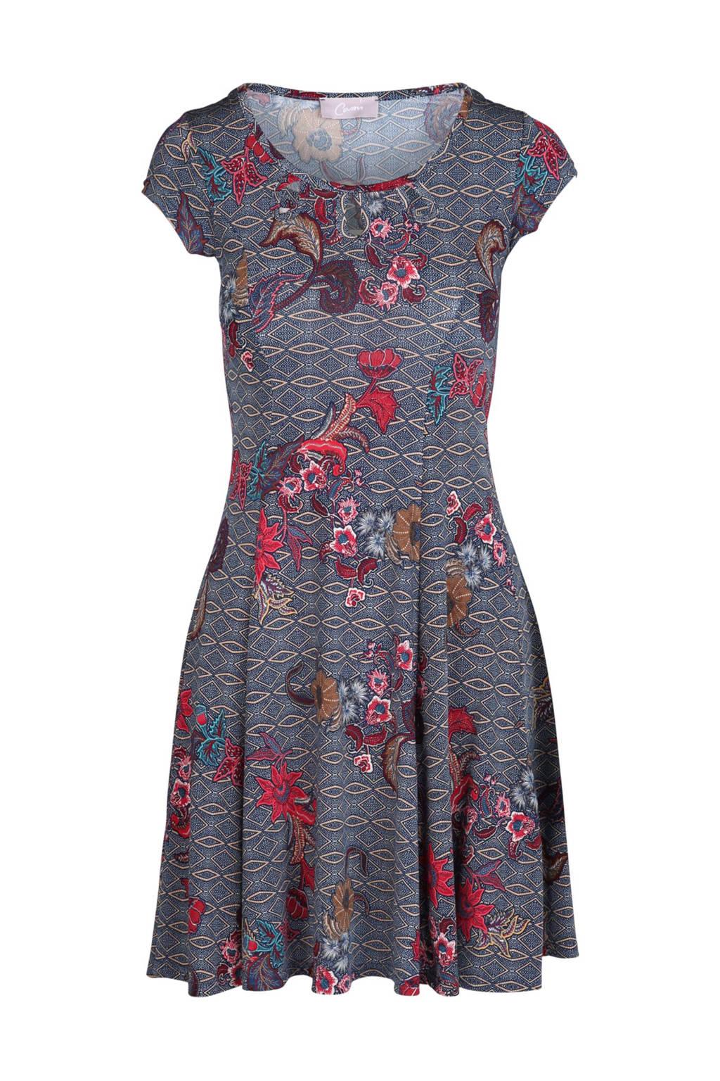 Cassis jurk, Marine blauw/rood/roze/lichtbruin