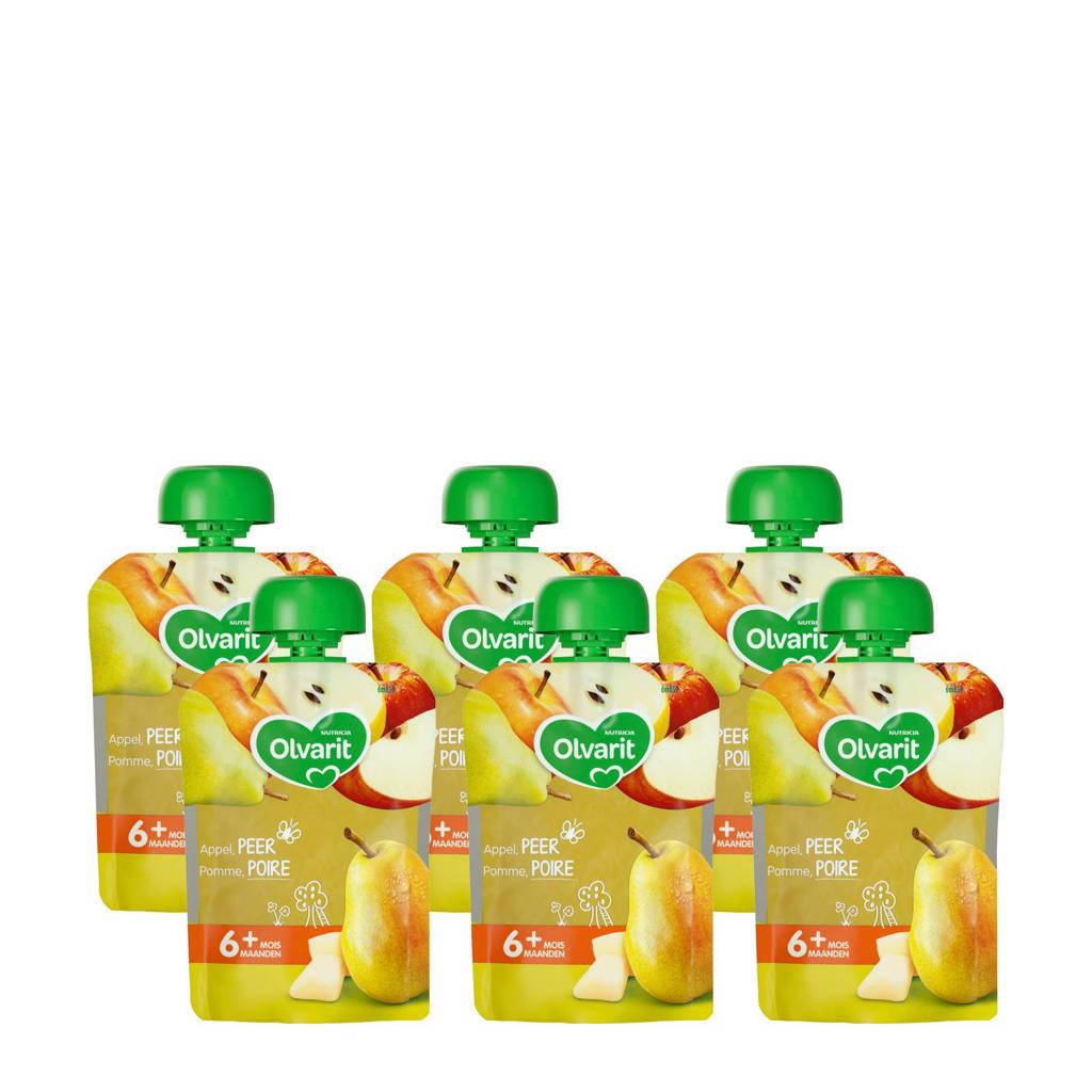 Olvarit knijpzakjes fruit peer appel 6+ mnd (6-pack)