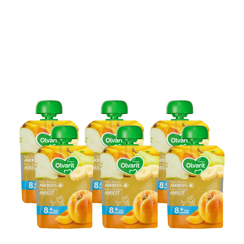 Olvarit knijpzakjes fruit abrikoos peer banaan 8+ mnd (6-pack)